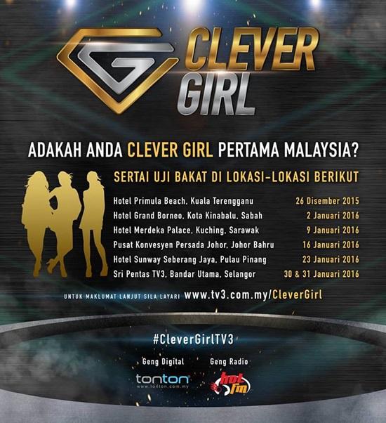 Uji bakat clever girl pertama malaysia, syarat penyertaan clever girl pertama malaysia, tarikh ujibakat, tempat & lokasi uji bakat clever girl pertama malaysia, gambar clever girl tv3