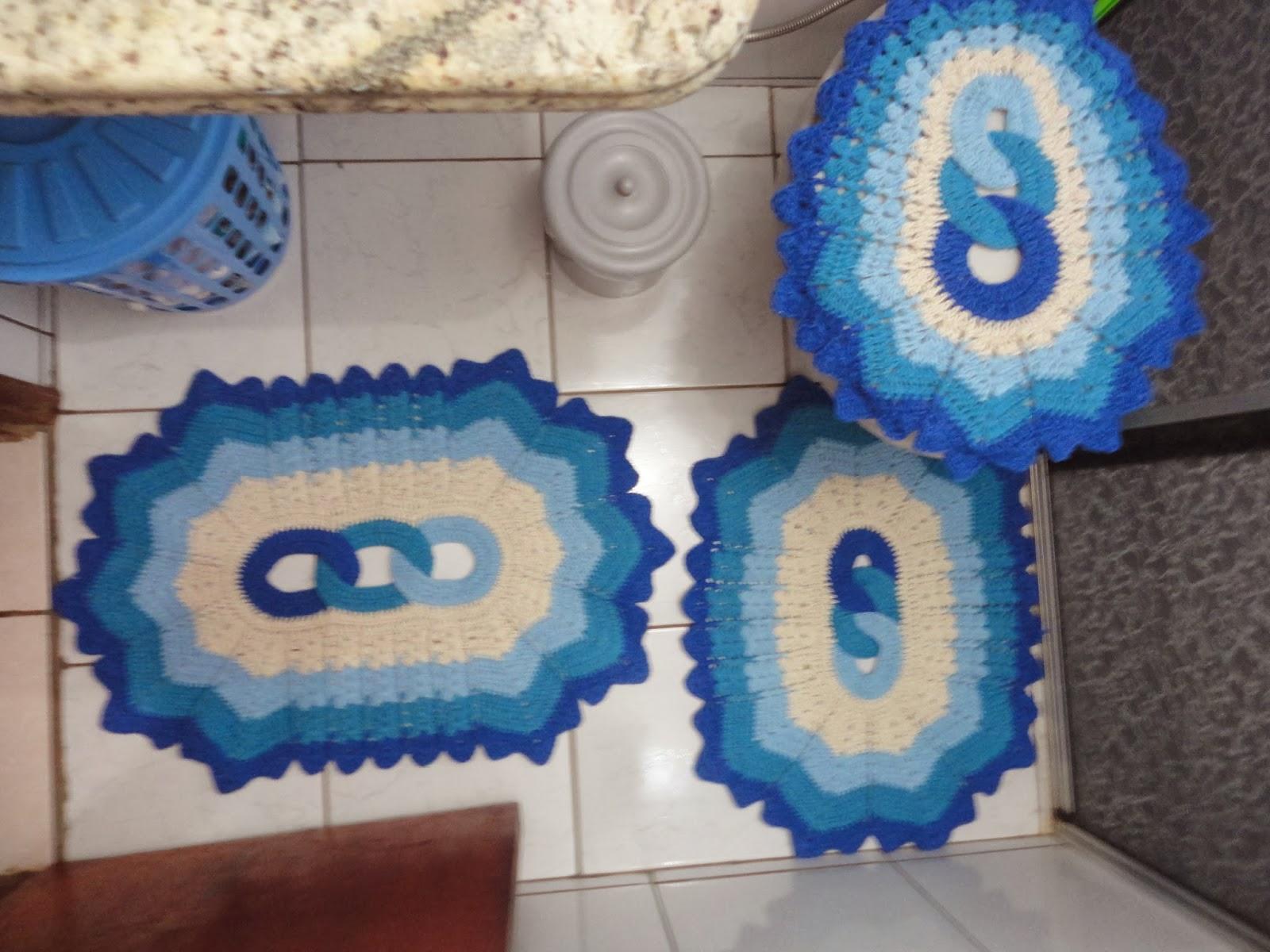 ARTES DA SI : Jogo de banheiro 4 peças em degradê azul #223F7C 1600 1200
