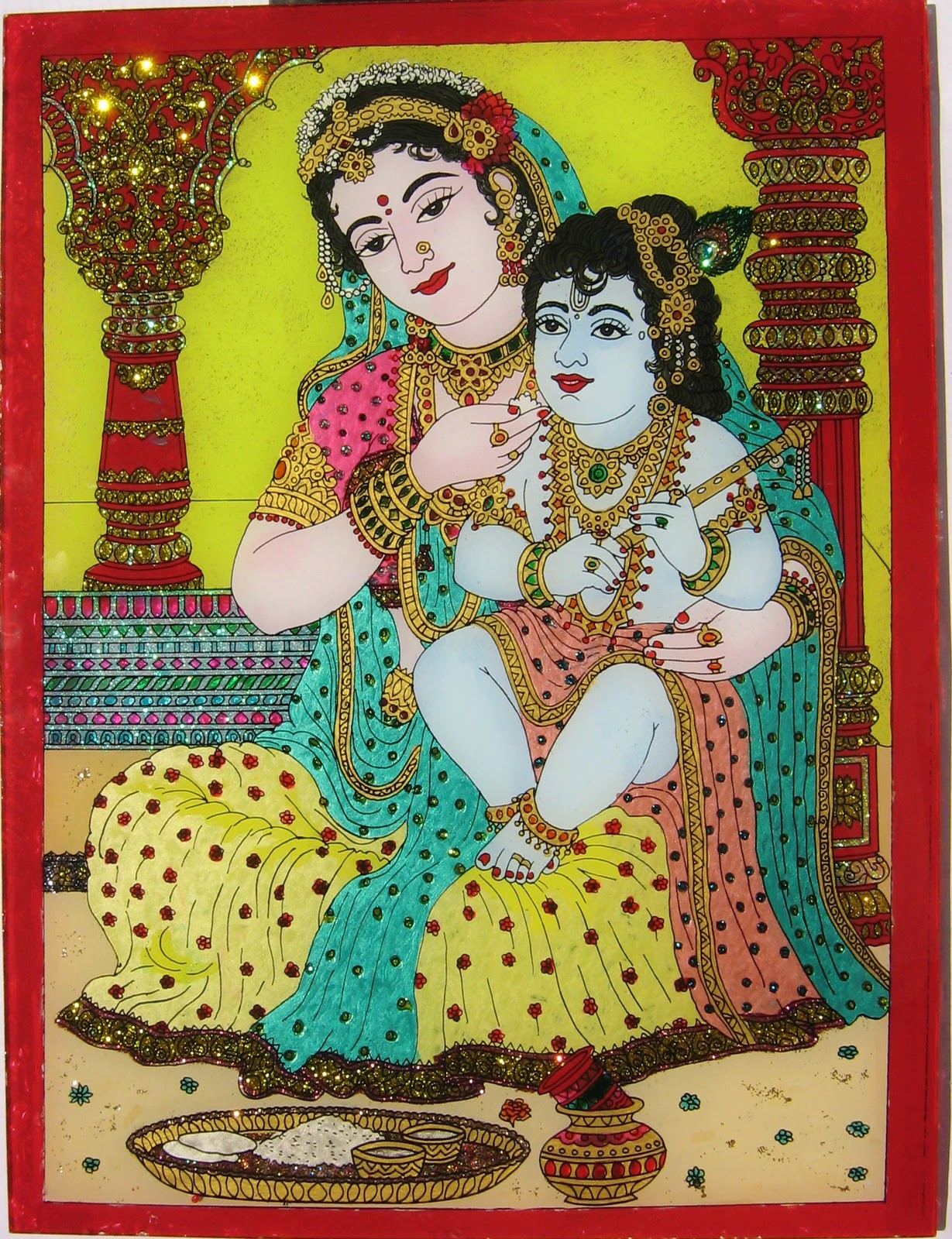 My palette how to paint glass tanjore painting for How to paint glass painting