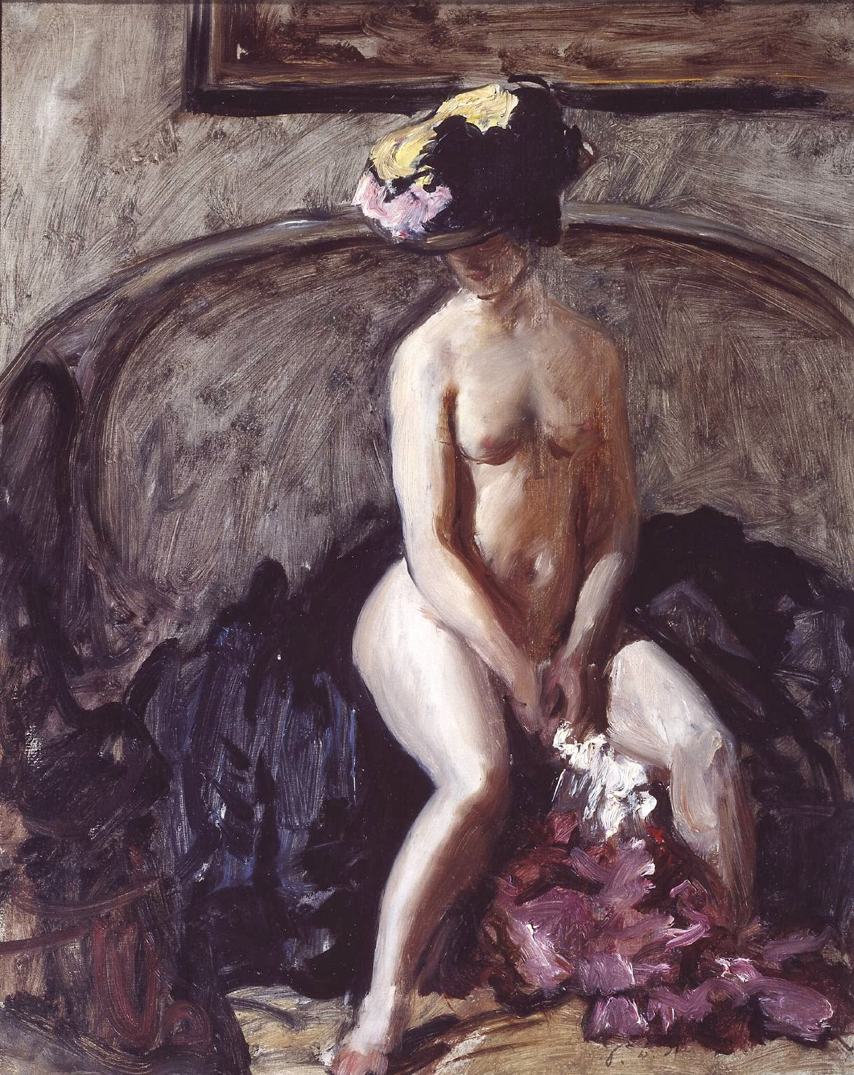 Philip Wilson Steer - Seated Nude:the black hat, c.1900