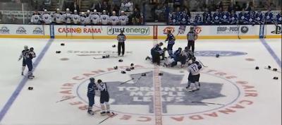 Maple Leafs vs Sabres preseason line brawl