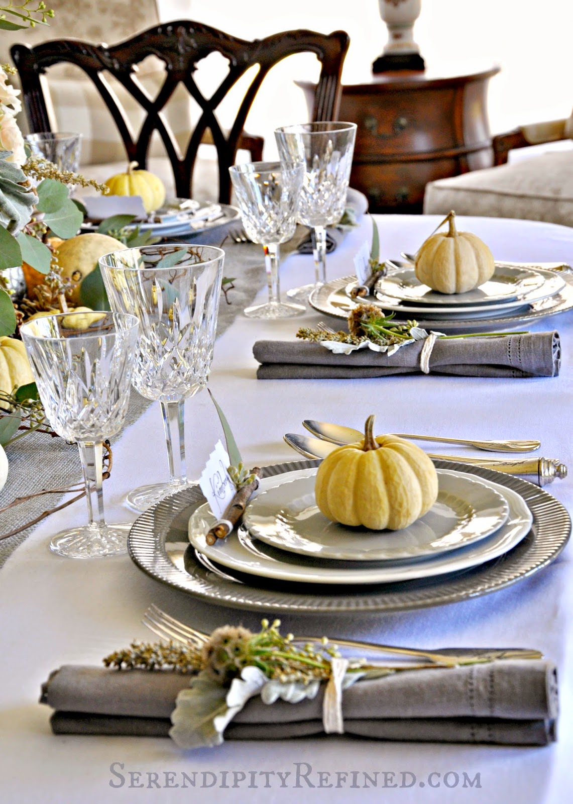 Rustic Gray And White Pink Thanksgiving Table Decor
