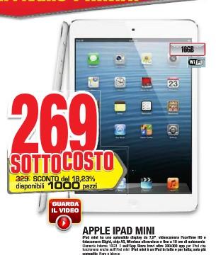 Comet presenta nel suo ultimo volantino di luglio l'iPad Mini 16 GB al prezzo sottocosto di soli 269 euro