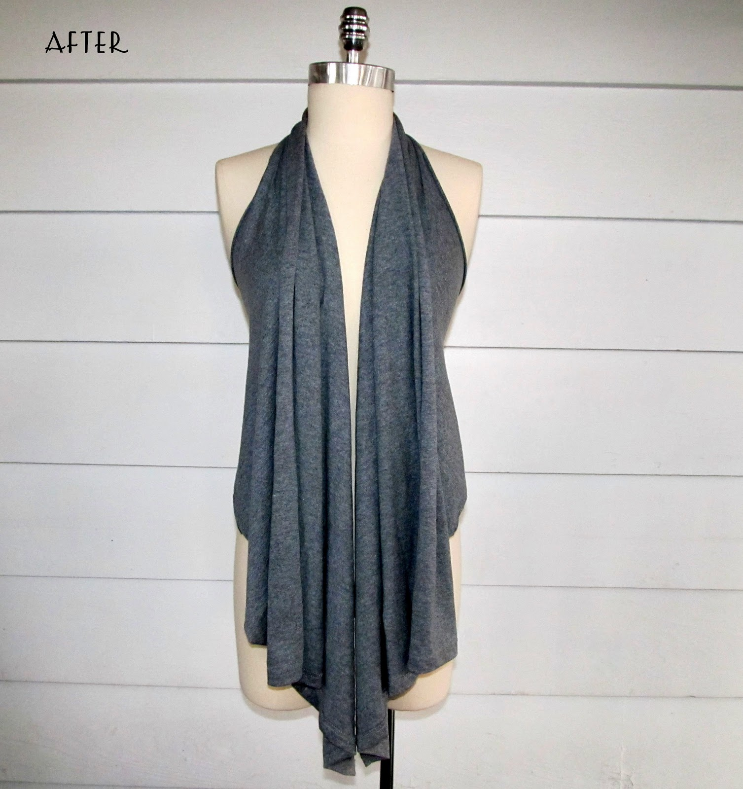 5 Minute, No Sew, Grey Drapped Vest: Revisited.