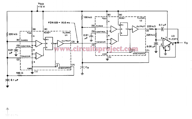 capacitance to voltage meter circuit diagram