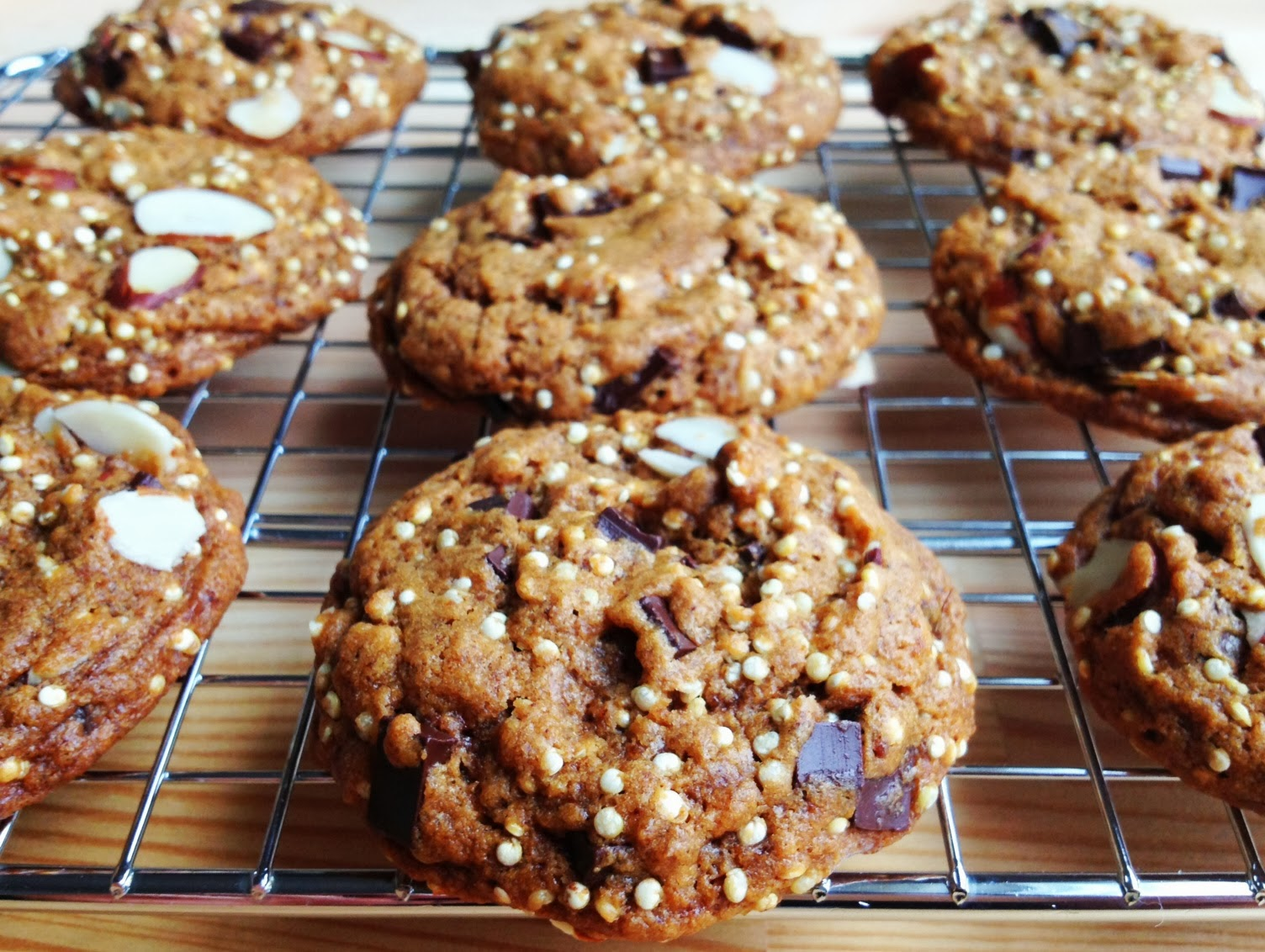 ... : VeganMoFo 6: Chocolate Chip Espresso Almond Quinoa Crunch Cookies