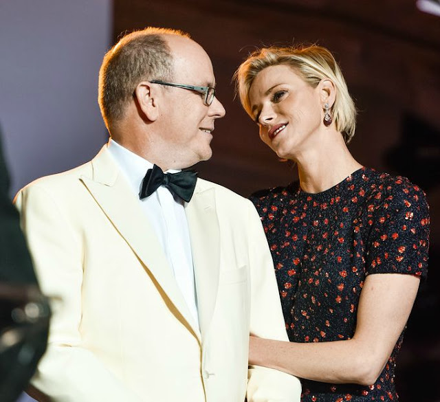 Princess Charlene and Prince Albert in the Palais Princier.