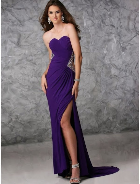 chiffon high slit evening dress