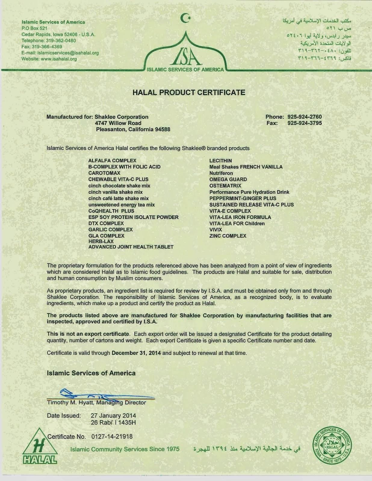 ISA- Shaklee Halal Certificate 2014