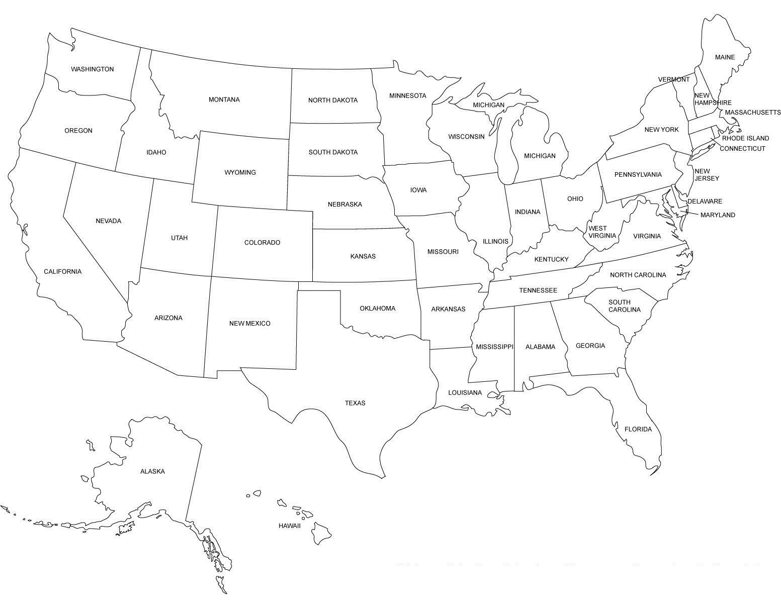 United States Black And White Outline Map Printable Map Of The - Black and white usa map