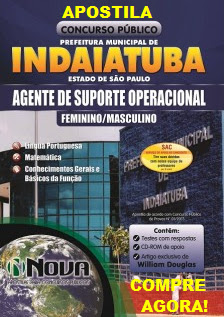 Apostila Pref. Indaiatuba Agente de Suporte Operacional - Feminino  (Impressa)