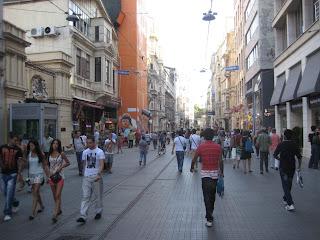 Istiklal Caddesi, the main pedestrian shopping avenue.