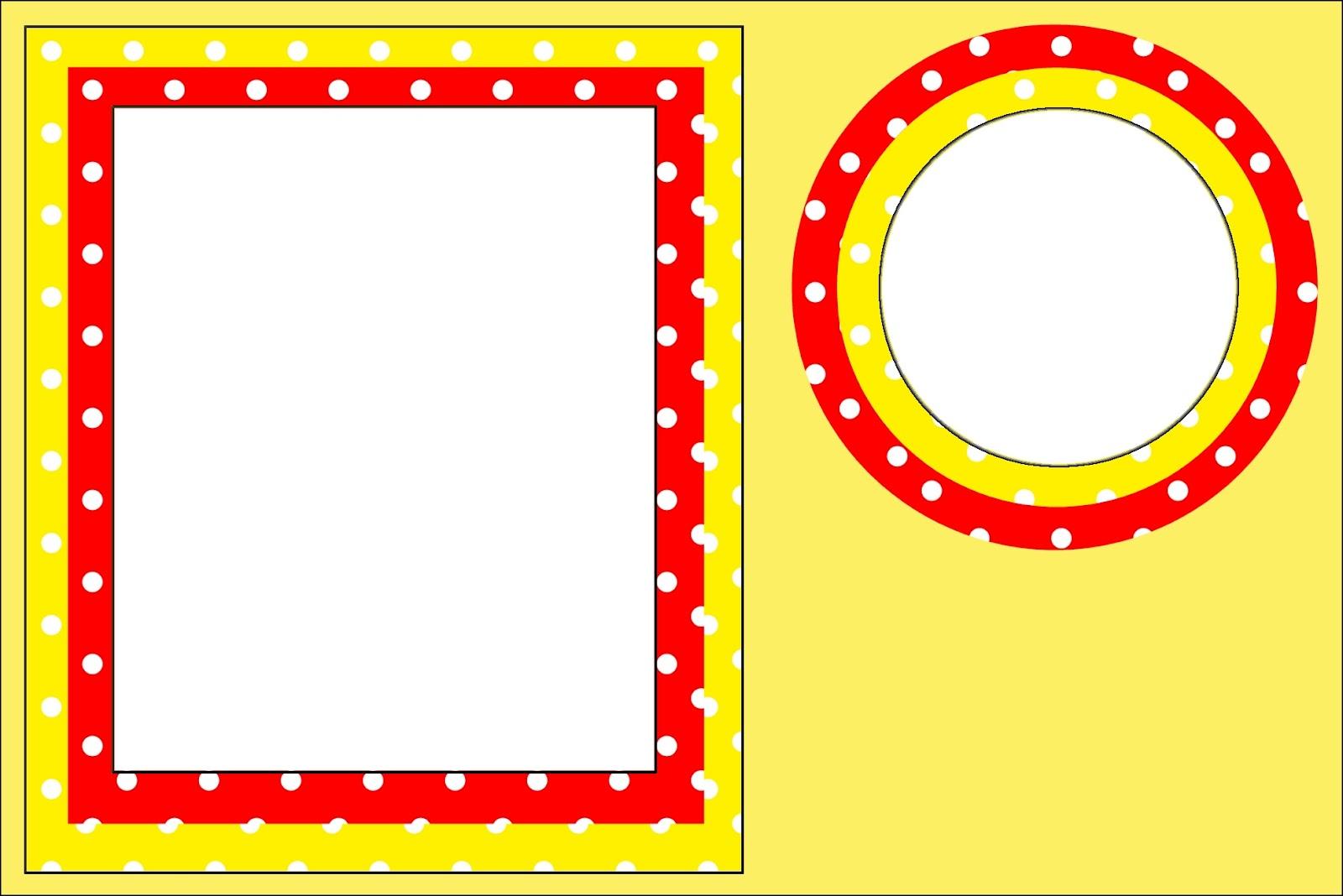 Po vermelho e amarelo kit completo com molduras para for Picas redondas