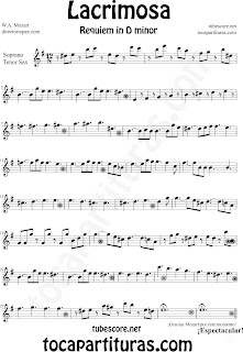 Partitura Fácil  de Lacrimosa para Saxofón Soprano y Saxo Tenor by Sheet Music for Soprano Sax and Tenor Saxophone Partitura Requiem by Mozart Music Scores