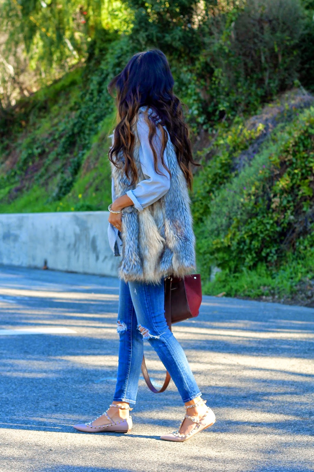 how to style fur vest, j brand jeans vest outfit, winter style, target outfit, pursuit of shoes