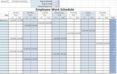 employee work schedule excel
