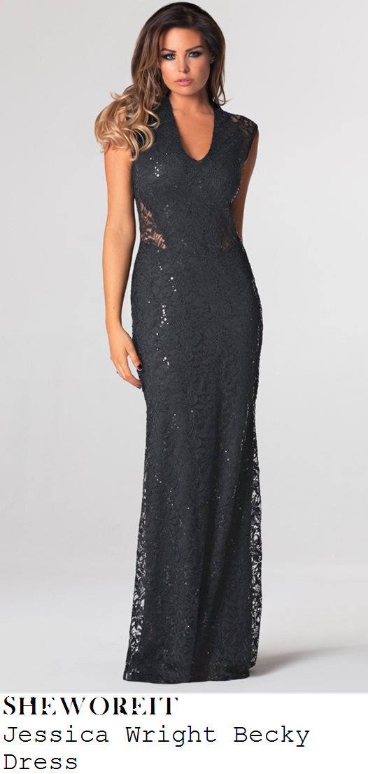 jessica-wright-black-floral-lace-sleeveless-v-neck-maxi-dress-towie-live