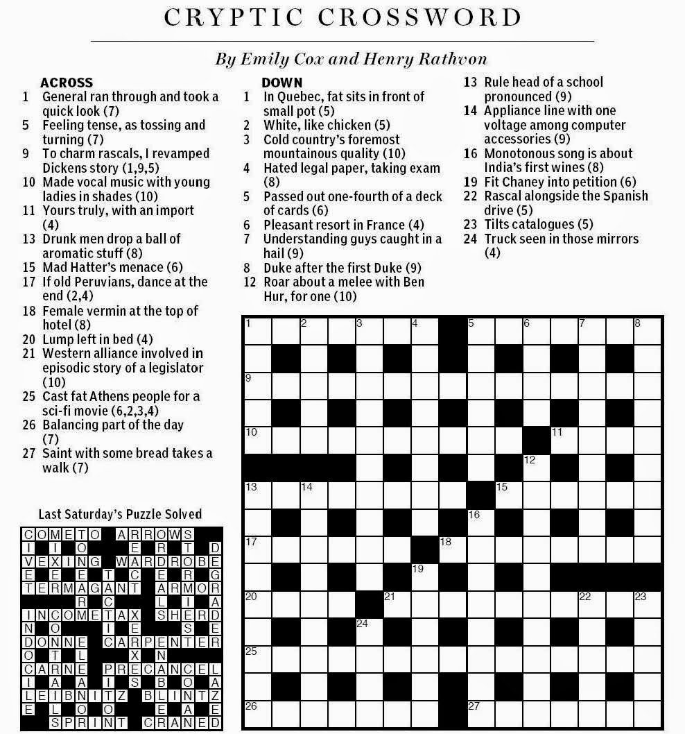 National post cryptic crossword forum 2014 as we wind down after the christmas festivities and the hectic boxing day shopping what better way to relax than with todays puzzle from cox rathvon and kristyandbryce Choice Image