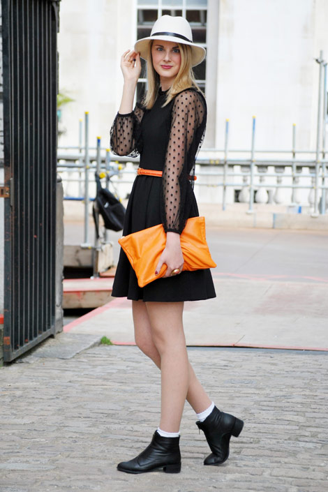sheer polka dot blouse lfw street style