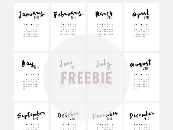 Freebie 2015 Calendar Cards