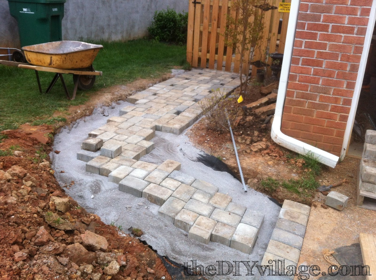paver path hard work but worth every sore muscle the diy village. Black Bedroom Furniture Sets. Home Design Ideas