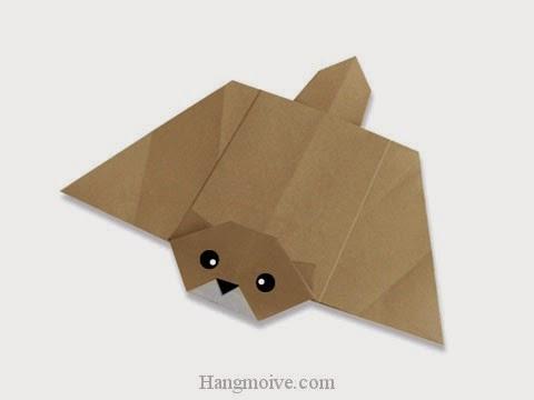 Cách gấp, xếp con sóc bay bằng giấy origami - Video hướng dẫn xếp hình - How to make a Flying squirrel