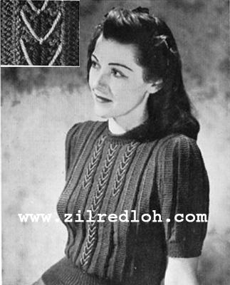 1940's Knitting - Embroidered Jumper free pattern