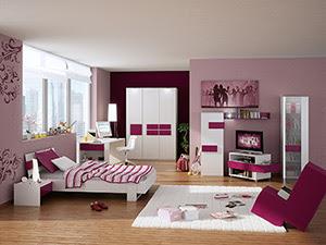 habitación morada juvenil