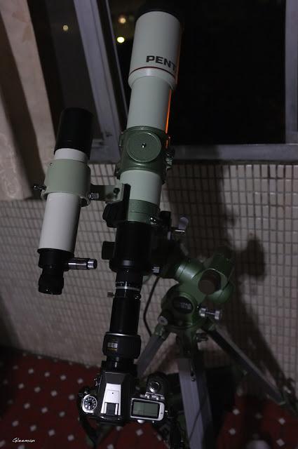 使用Pentax 75SDHF 加 XW3.5目鏡直接透過轉接環(PM/XW to T adapter)以及T ring連接相機K5的擴大攝影