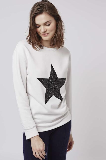 white back star jumper, glitter star jumper,