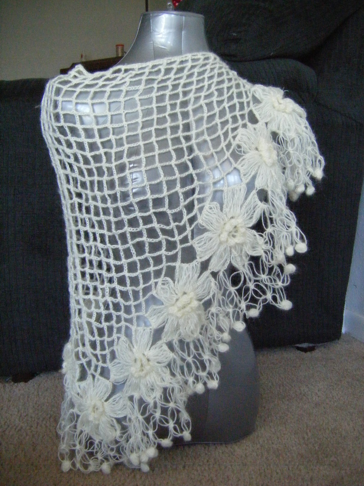 ... Bridal Mohair Shawl/Scarf Winter or Summer Unic Size PATTERN CROCHET