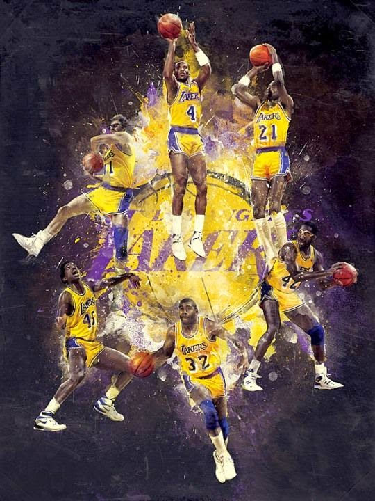 """the legendary lakers storming the court"""