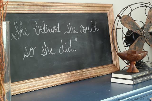 DIY Framed Chalkboard Tutorial via DIYontheCheap.com