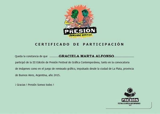 """""""Certificado de Participación III Festival Internacional de Gráfica Grupo Presión"""""""