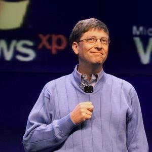 Bill Gates en la presentación de Windows XP