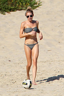 LeAnn Rimes playing volleyball in a two piece swimsuit at a beach in California