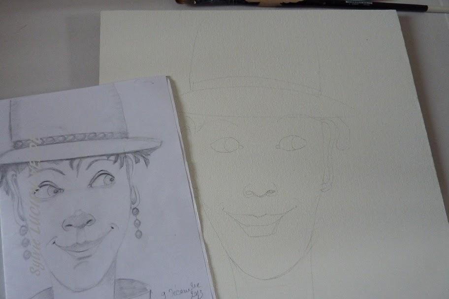 dessin toile en cours - Sylvie Lucien-Velde
