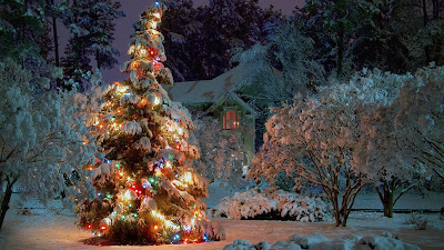 Arbol de navidad en la nieve con luces de colores Merry Christmas