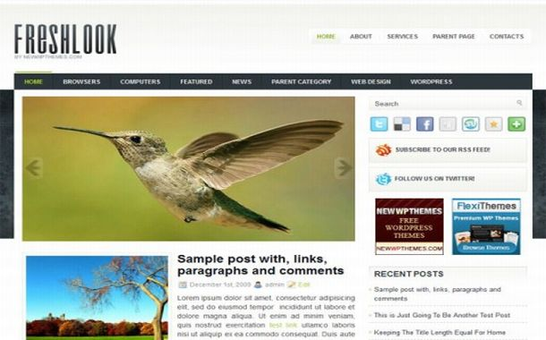 Free Green Blue Jquery Wordpress Theme Template