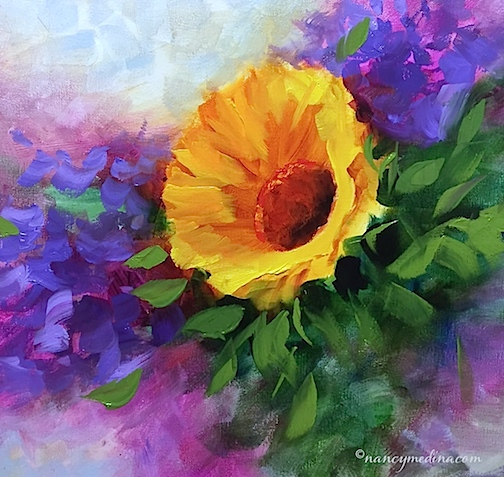 http://www.nancymedina.com/available-paintings/violet-flight-sunflower