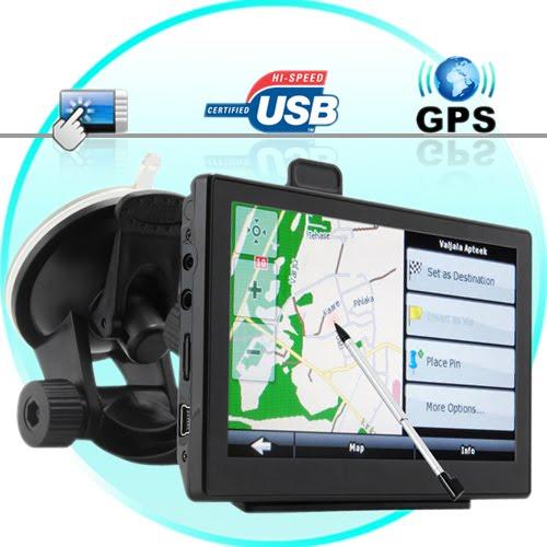 GPS Navigator + 5 Inch Touchscreen + FM Transmitter