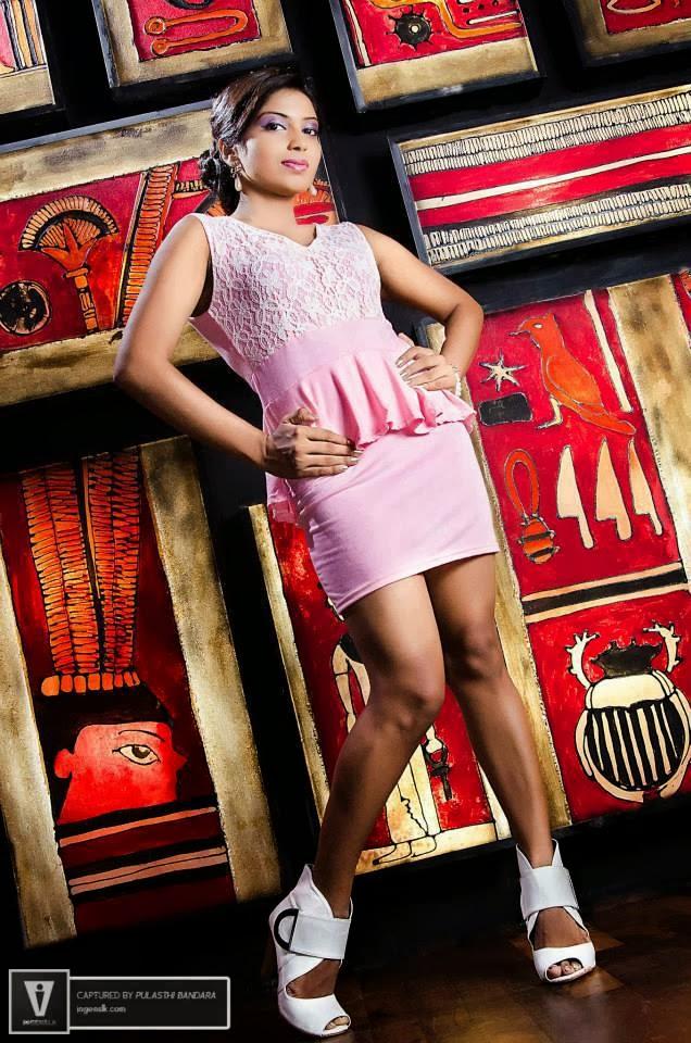 Shehani Wijethunge pink short skirt
