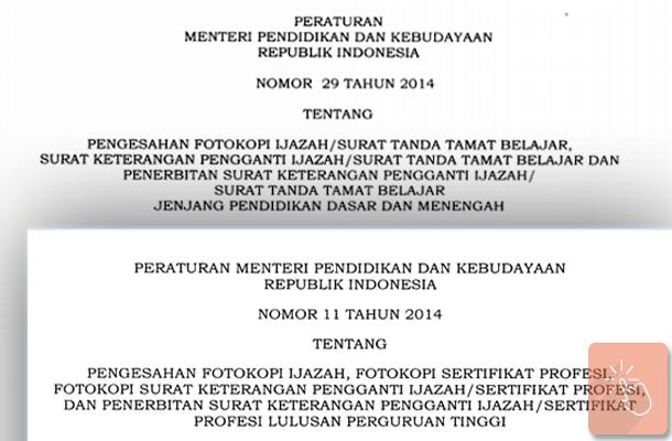 PDF Permendikbud Tentang Kententuan Legalisir Pengesahan Fotokopi Ijazah atau Surat Tanda Tamat Belajar