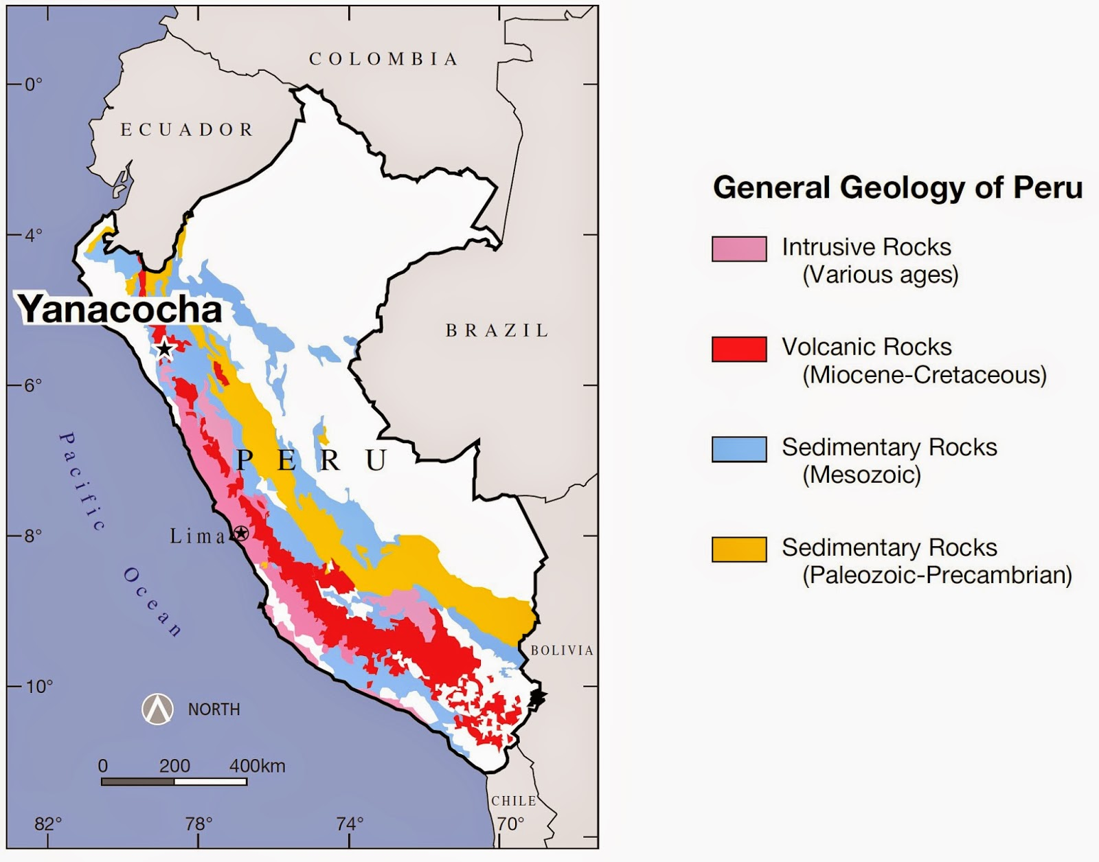 Schematic map showing the geology of western Peru and general location of the Yanacocha mining district.