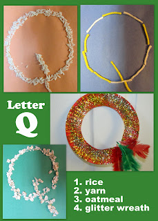 photo of: Letter Q in sensory presentation, Head Start, preschool, letter identification