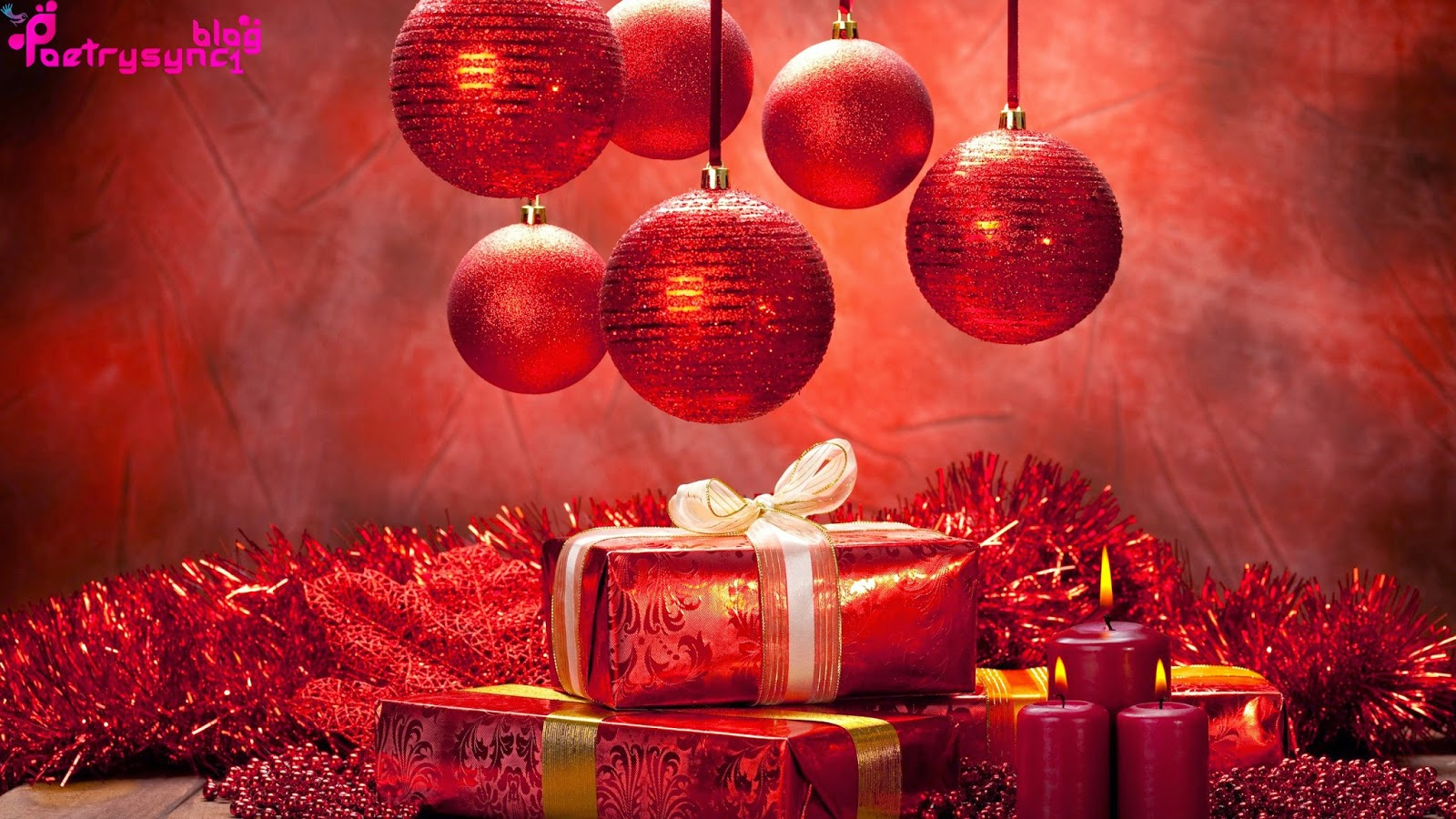 merry christmas wallpaper wishes balls  gifts  ribbon and