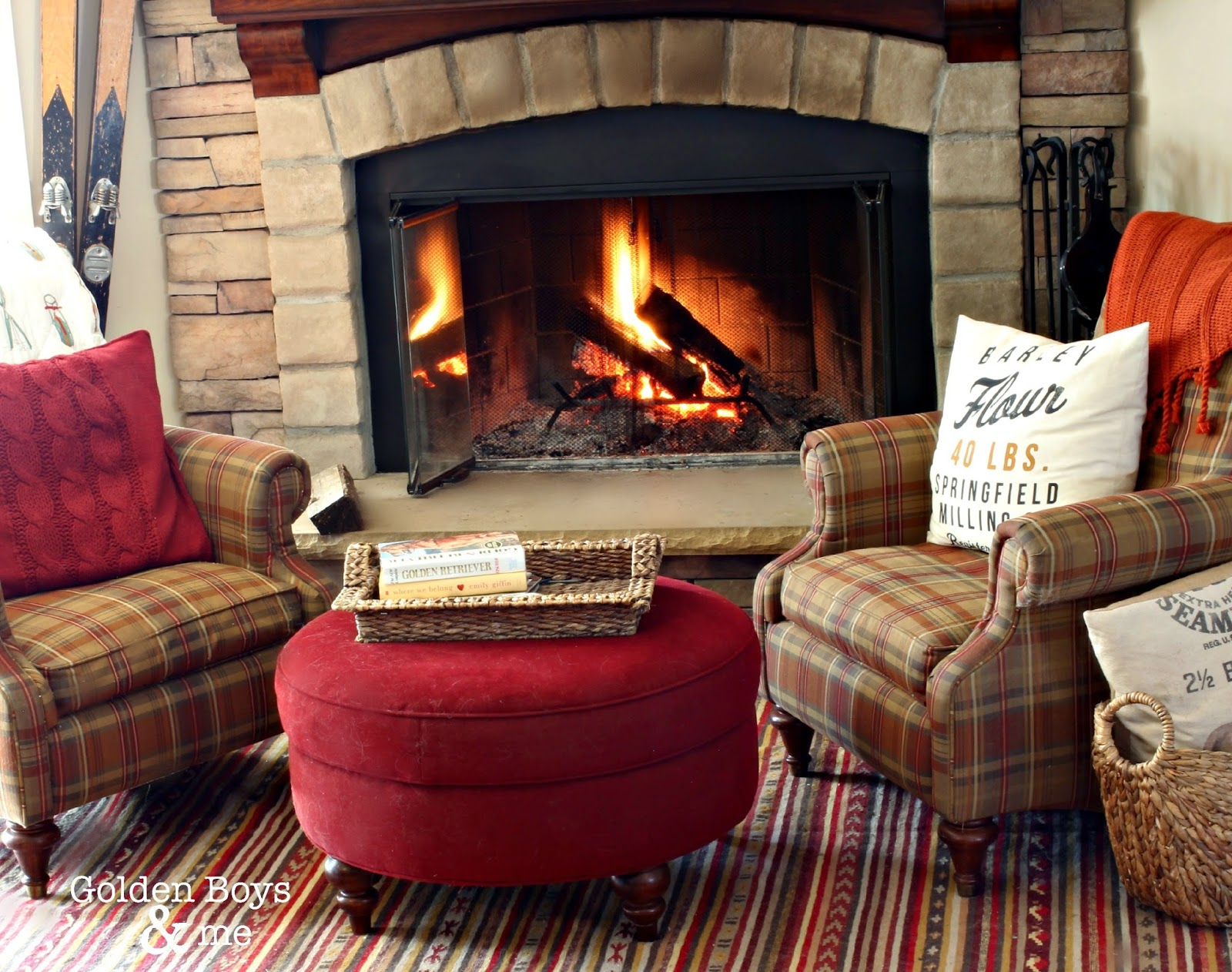 Corner stone fireplace with plaid chairs and Ikea Kattrup rug-www.goldenboysandme.com