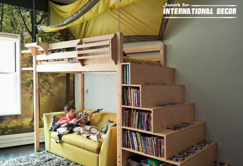 small child's room design,how to save space, niches and stairs