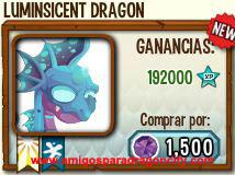 imagen del dragon luminiscente en almacen de dragon city