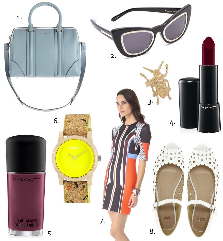 Givenchy, asos shoes, mac, mac makeup, alexander wang, karen walker sunglasses, purple lipstick, unique watch